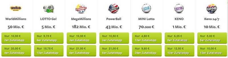 Angebotene Lotterien von lottoland.com